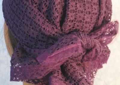 Head Wrap in Purple Mesh Net - back