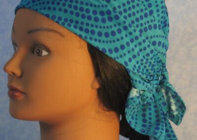 Head Wrap in Teal Blue Dots - left