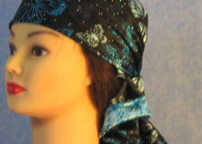 Head Wrap Turquoise Butterflies - left