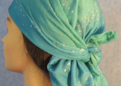 Head Wrap in Turquoise Sparkle Knit - left