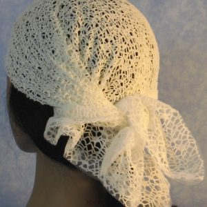 Head Wrap in White Mesh Net - back
