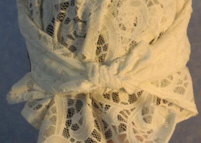 Head Wrap in White Swirl Lace - back