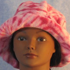 Cloche Hat with Flower in Pink Tie Dye - front brim up
