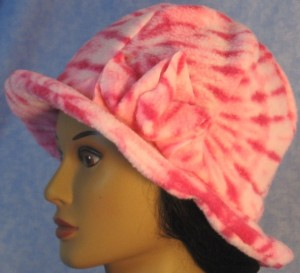Cloche Hat with Flower in Pink Tie Dye - left