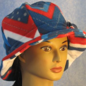 Cloche Hat with Flower in Red White Blue V's - front right