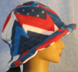 Cloche Hat with Flower in Red White Blue V's - right