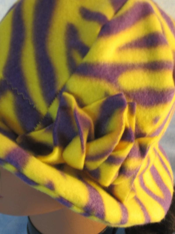 Cloche Hat with Flower in Yellow Purple Zebra - flower