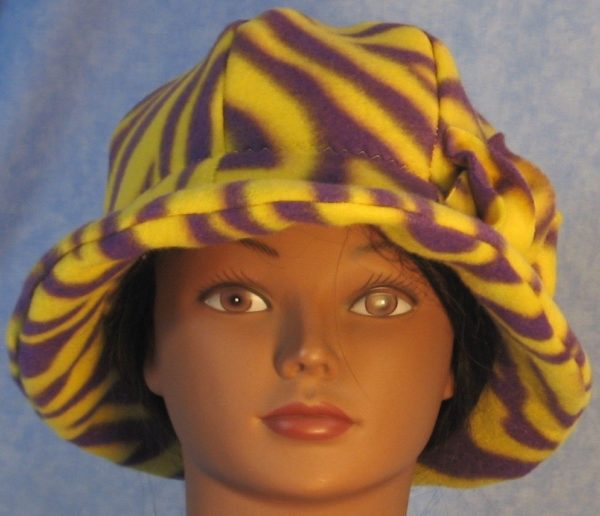 Cloche Hat with Flower in Yellow Purple Zebra - front