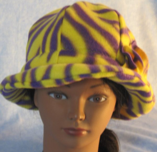 Cloche Hat with Flower in Yellow Purple Zebra - front brim curved