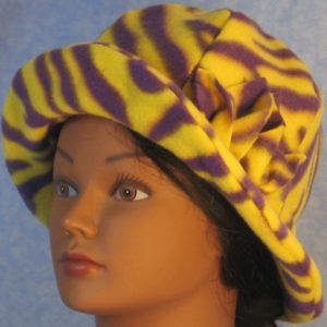 Cloche Hat with Flower in Yellow Purple Zebra - front brim up