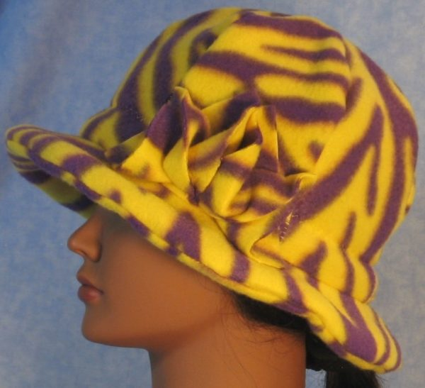 Cloche Hat with Flower in Yellow Purple Zebra - left