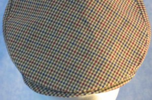 Flat Cap in Blue Green Red Plaid Homespun - closeup