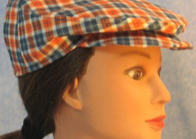 Flat Cap in Orange Navy Plaid - right female