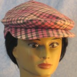 Flat Cap in Pink Gray Flannel - front