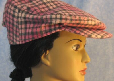 Flat Cap in Pink Gray Flannel - right