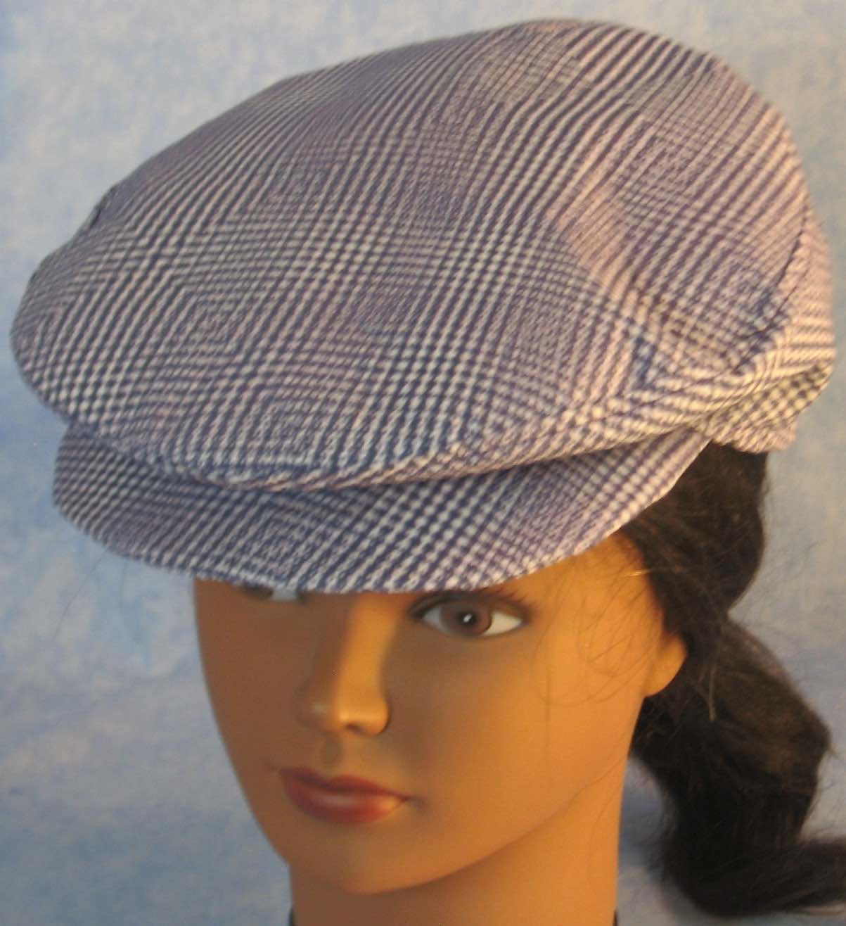 Flat Cap in Purple White Geometric - Youth L-XL-Adult M