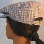 Flat Cap in Purple White Geometric - left back