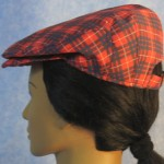 Flat Cap in Red and Blue Plaid - back left female