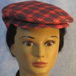 Flat Cap in Red and Blue Plaid - front female