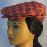 Flat Cap in Red and Blue Plaid - front left female