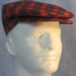 Flat Cap in Red and Blue Plaid - front right male