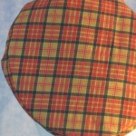 Flat Cap in Red Gold Plaid - closeup