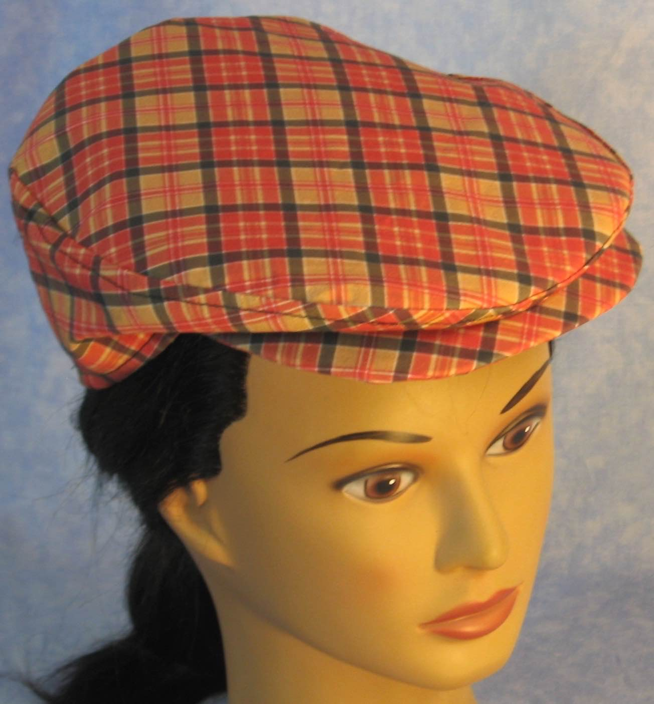 Flat Cap in Red Gold Plaid - Adult M-XL
