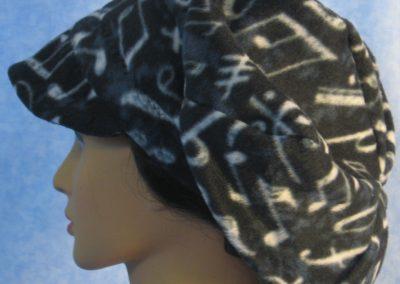Newsboy Hat in Black White Music - left