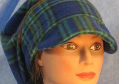 Newsboy Hat in Blue Green Plaid - front right