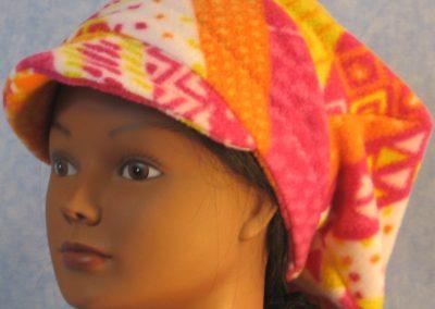 Newsboy Hat in Pink Orange Yellow Stripe - front