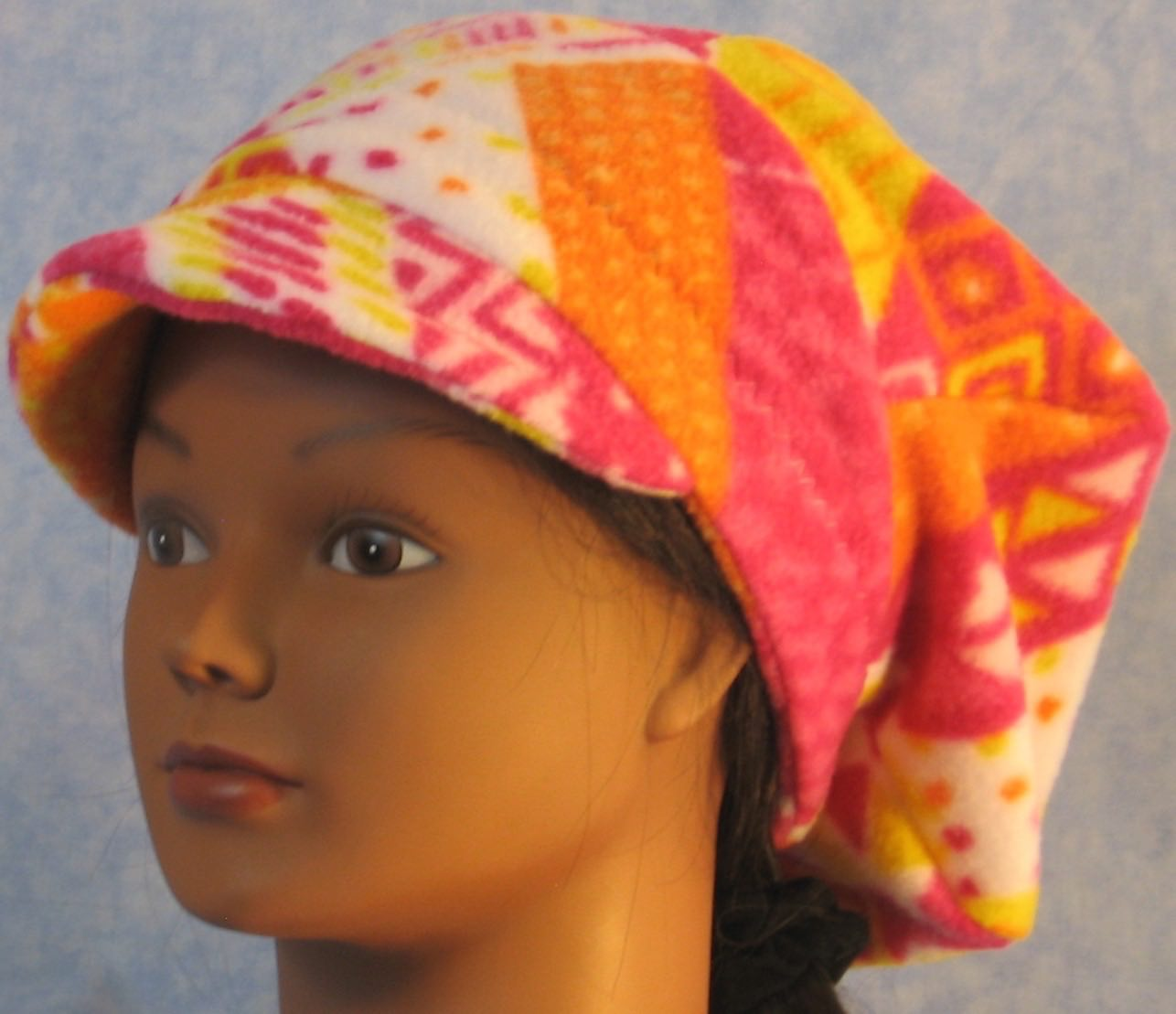 Newsboy Hat in Pink Orange Yellow Stripe-Youth L-XL