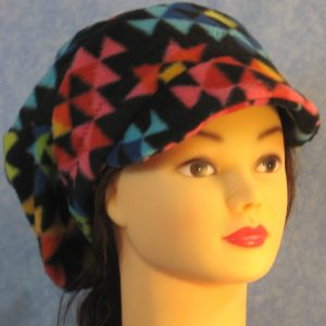 Newsboy Hat in Red Blue Yellow Triangle - front
