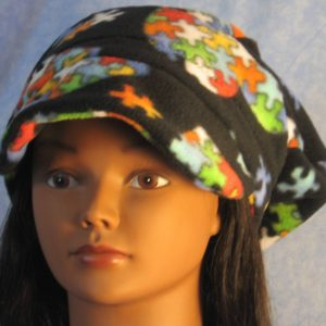 Newsboy Hat in Autism Awareness - front