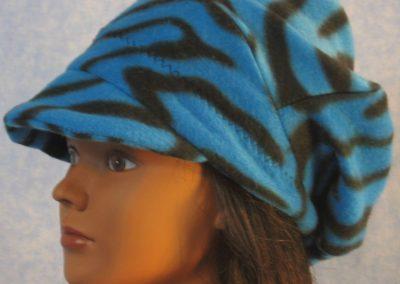 Newsboy Hat in Blue Black Zebra - left
