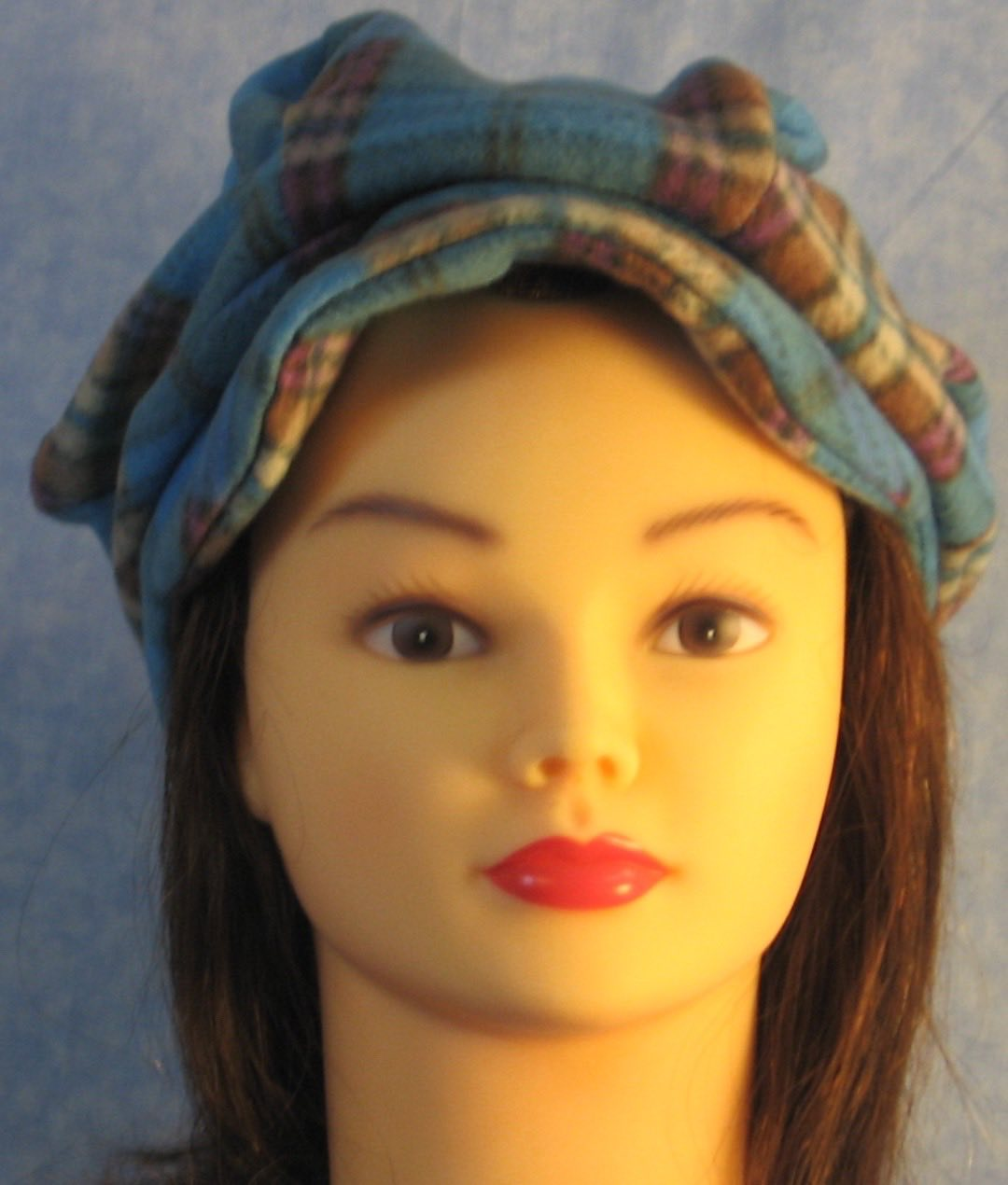 Newsboy Hat in Blue Brown Plaid-Adult S