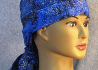 Hair Stocking in Blue Black Splotch with Gold - right front