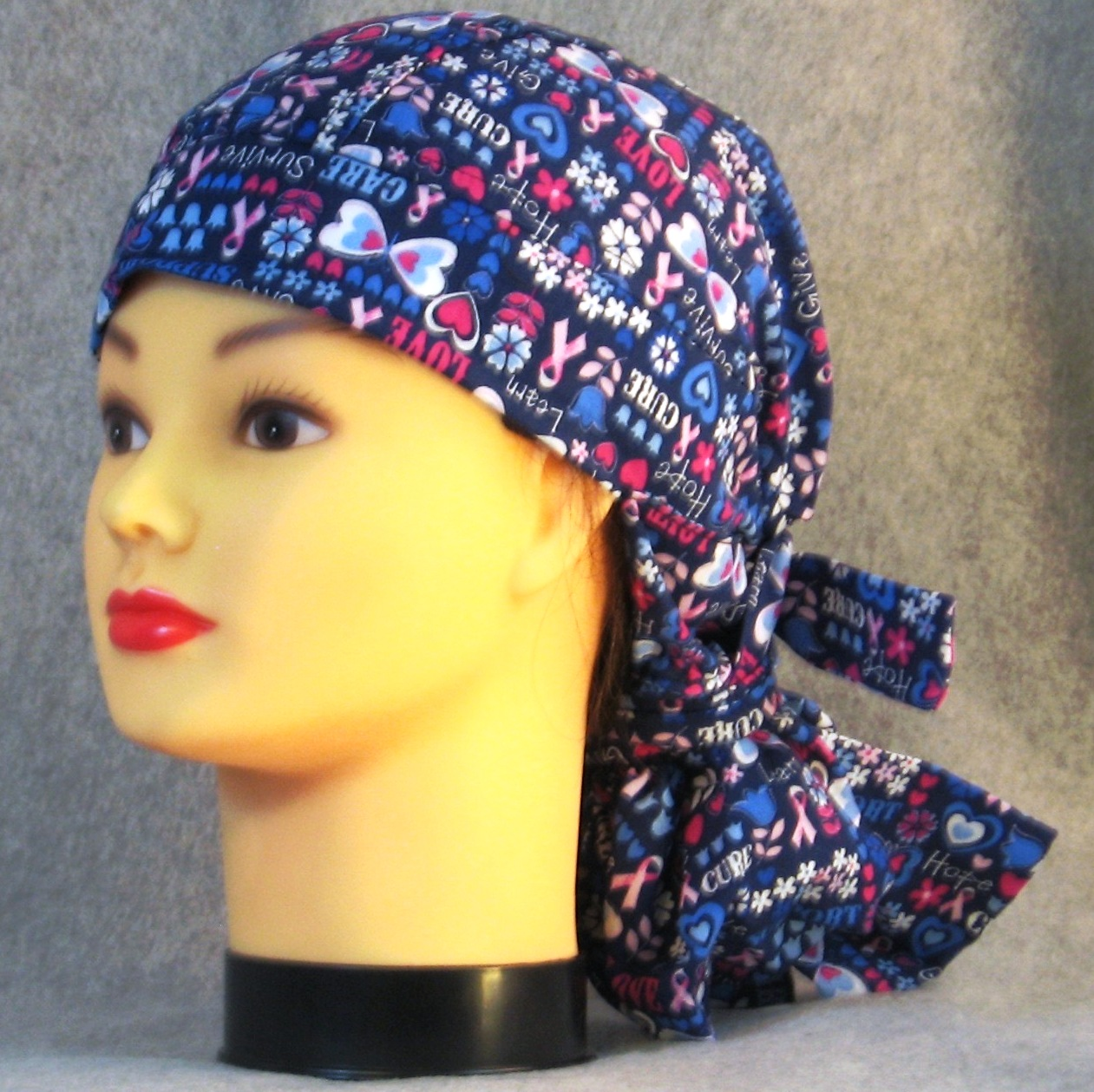 Hair Stocking Do Rag in Blue Cure Ribbon - Youth L-XL-Adult S