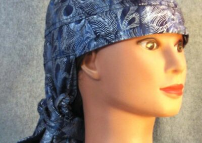 Hair Stocking in Blue Silver Feathers - right
