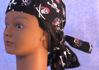 Hair Bag in Black Pirate Skulls - gal left front