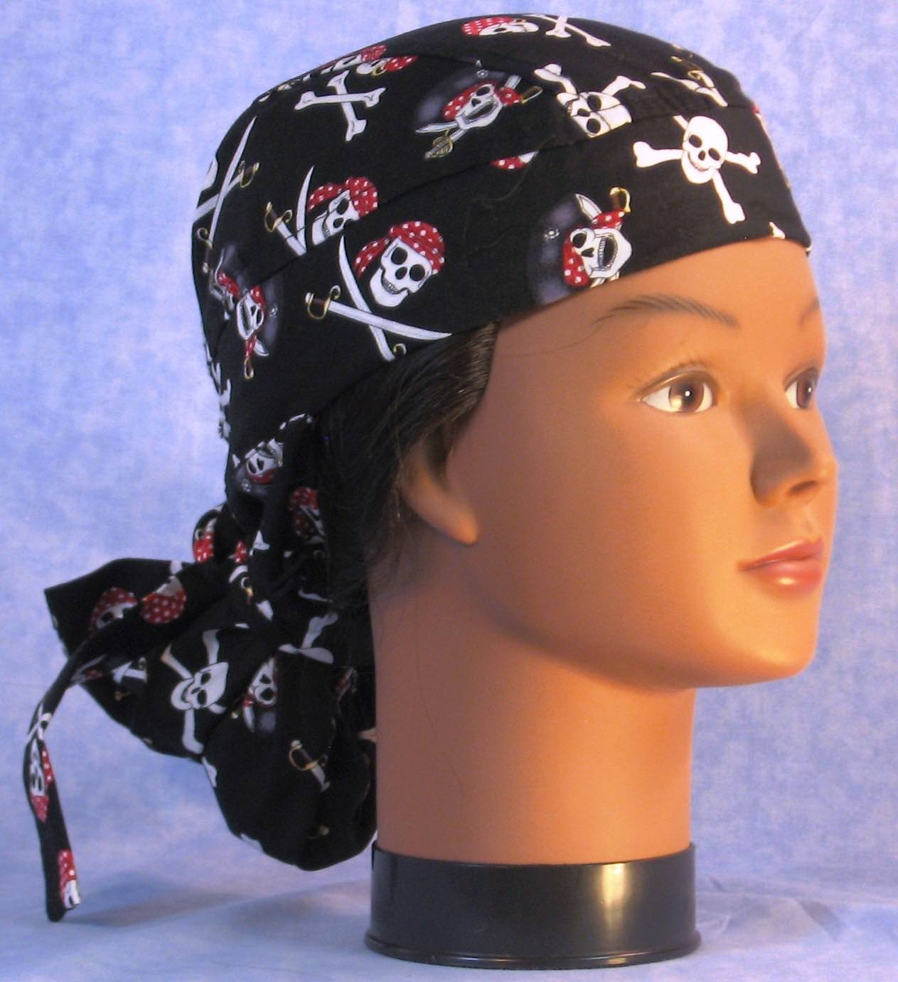 Hair Bag in Black Pirate Skulls - gal right front