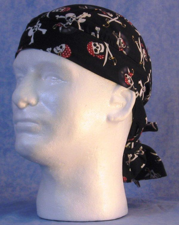 Hair Bag in Black Pirate Skulls - guy left front
