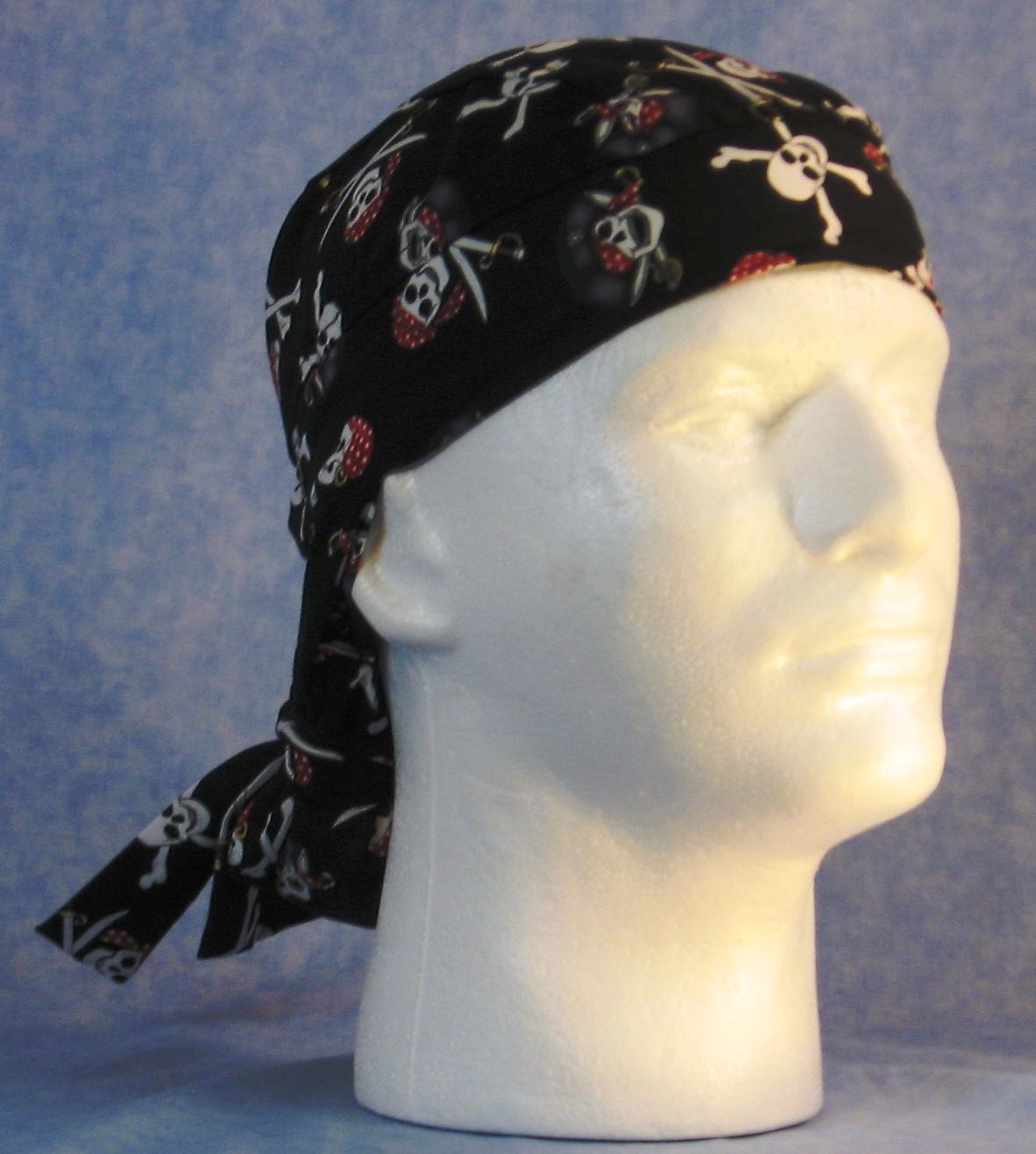 Hair Bag Do Rag in Black Pirate Skulls - Youth L-XL-Adult S