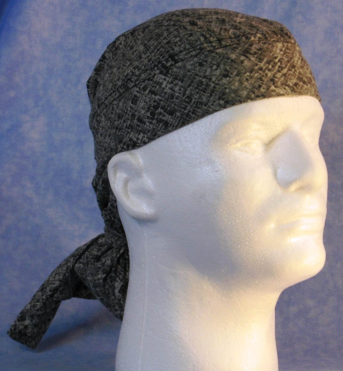 Hair Bag Do Rag in Gray Crosshatch Plaid - Youth L-XL-Adult S