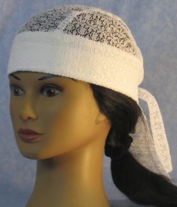 Do Rag in White Flower Circle Lace - front