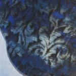 Flat Cap in Blue Black Flower Corduroy - closeup