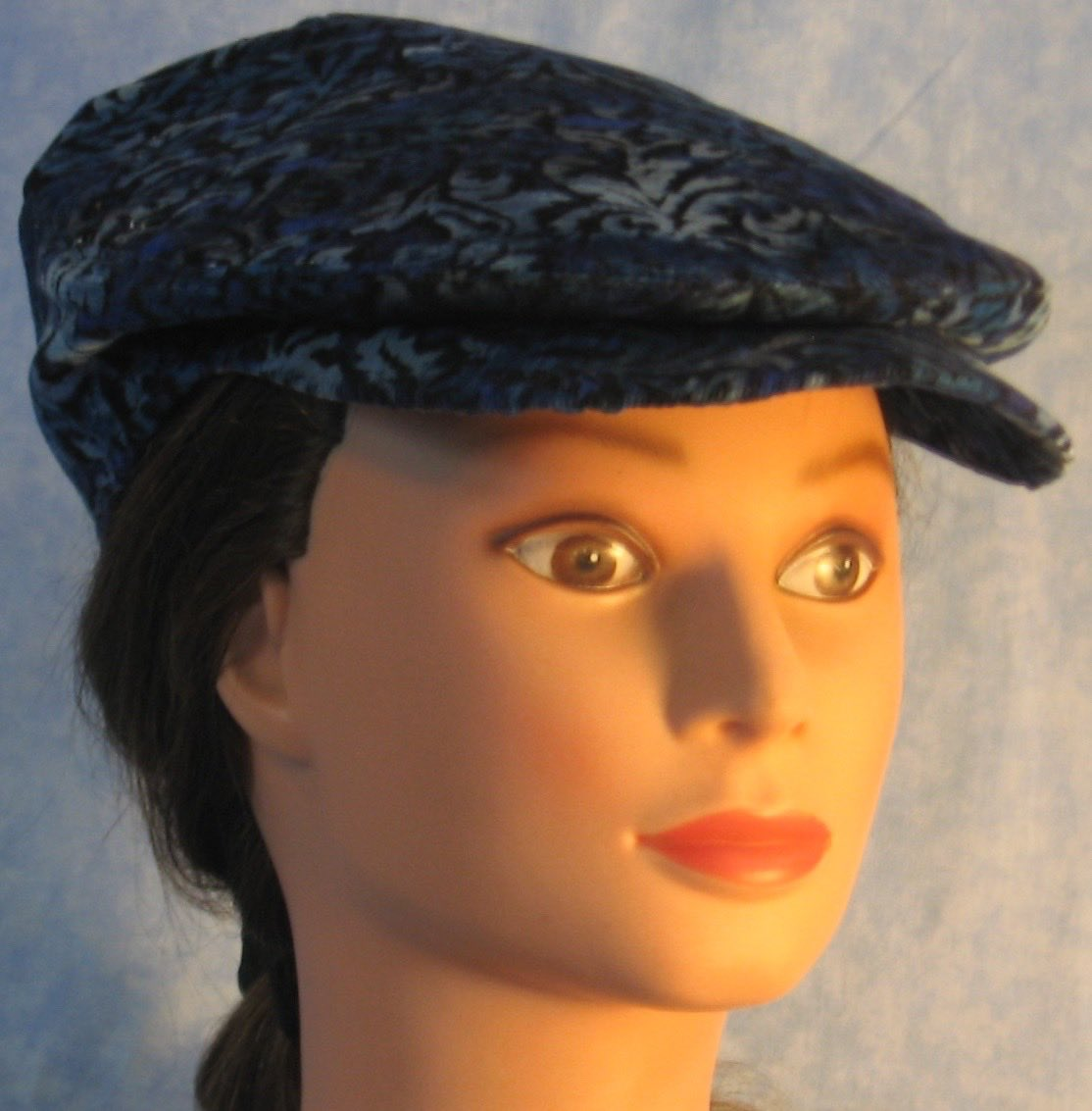 Flat Cap in Blue Black Flower Corduroy - Adult M-XL