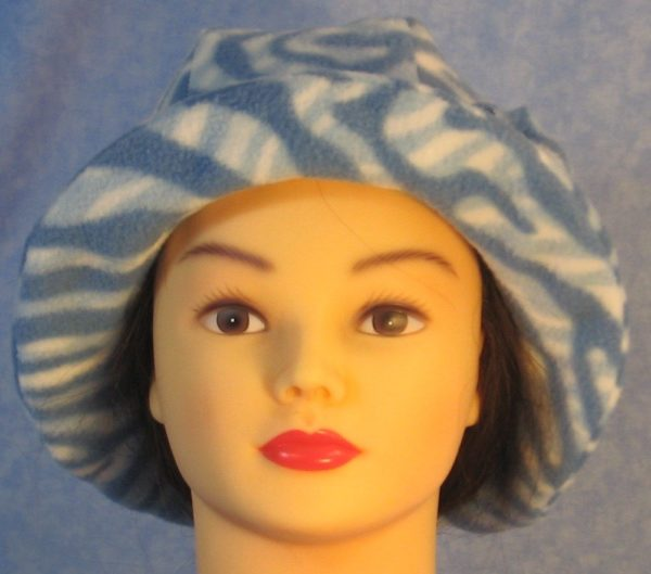 Cloche Hat with Flower in Blue White Zebra - front