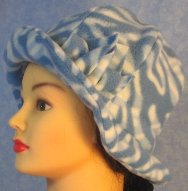 Cloche Hat with Flower in Blue White Zebra - left with brim up
