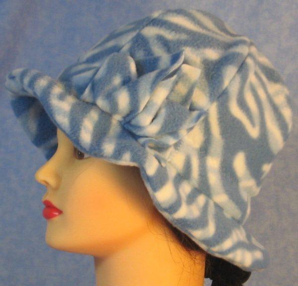 Cloche Hat with Flower in Blue White Zebra - left
