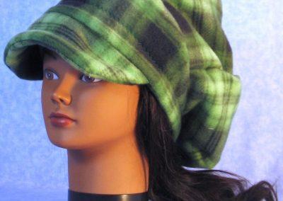 Newsboy Hat in Green Black Plaid - left